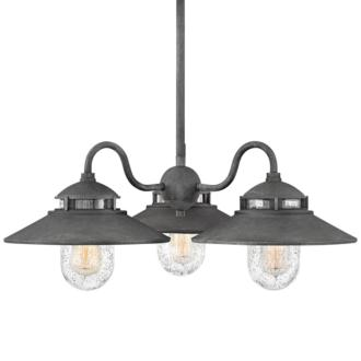 "Atwell 24 1/4"" Wide Aged Zinc 3-Light Outdoor Chandelier (44H73)"