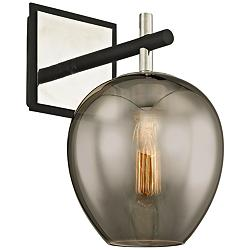 "Iliad 12 1/2""H Carbide Black and Polished Nickel Wall Sconce"