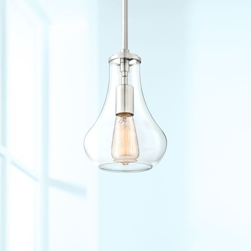 "Roselle 8 1/2"" Wide Brushed Nickel Mini Pendant"