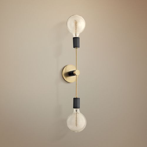 "Mitzi Astrid 18"" High Aged Brass 2-Light Wall Sconce"