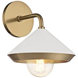 "Mitzi Marnie 10"" High Aged Brass and White Wall Sconce"