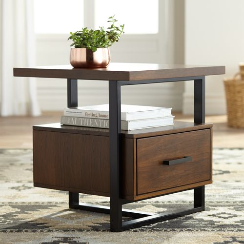"Sedley  22"" Wide Walnut 1-Drawer Modern End Table"