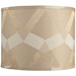 Tan Geometric Pattern Drum Lamp Shade 14x14x11 (Spider)