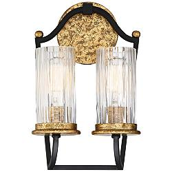"Posh Horizon 13 1/2"" High Black and Gold 2-Light Wall Sconce"