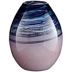 "Toyah 11 3/4"" High Lilac and Deep Blue Glass Vase"