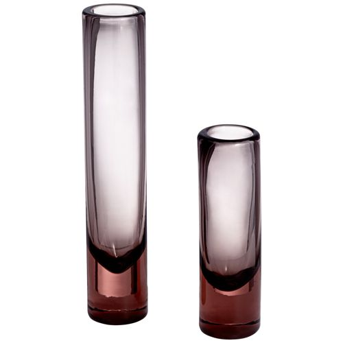Shari Pink and Gray Glass Vases Set of 2