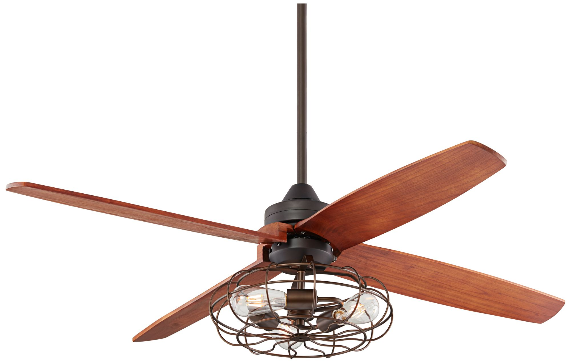 52u2033 Bronze Rubbed Vintage Cage LED Ceiling Fan (4F597 19R82)