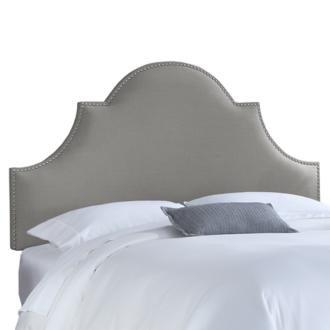 Gray Linen King Nail Button High Arch Notched Headboard (4K833)