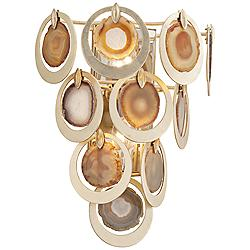 "Corbett Rockstar 18"" High Gold and Agate Wall Sconce"