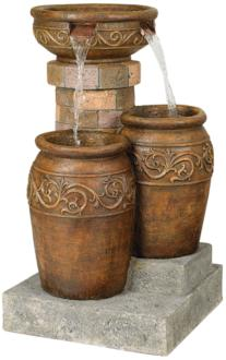"Tuscan Faux Stone 31 1/2"" High Patio LED Floor Fountain (55499)"