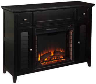 Fairbury Black Wood 2-Door 3-in-1 Media Fireplace Console (55P33)