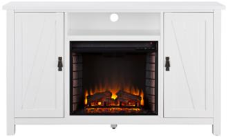 Adderly White Wood 2-Door Electric Fireplace TV Stand (55P51)