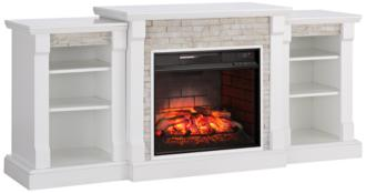 Gallatin White Simulated Stone Infrared Electric Fireplace (55P65)