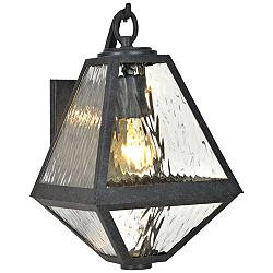 "Glacier 12 3/4"" High Matte Black Charcoal Outdoor Wall Light"