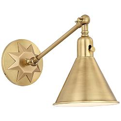 "Crystorama Morgan 7"" High Aged Brass Wall Sconce"