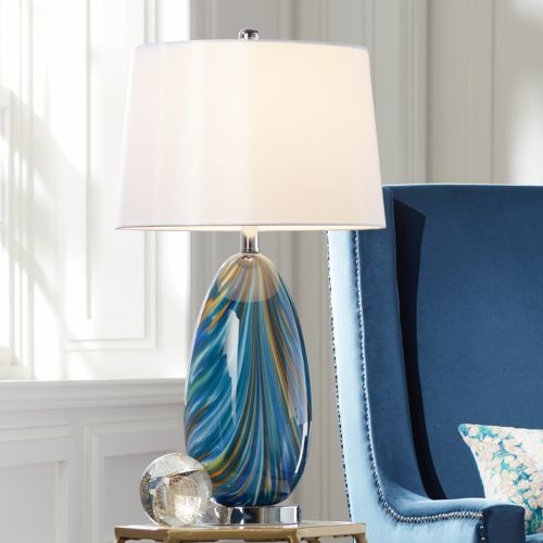 Possini Euro Pablo Blue Art Glass Table Lamp