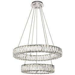 "Monroe 23 1/2"" Wide Chrome 2-Ring LED Chip Pendant"