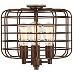 Industrial Cage Oil-Rubbed Bronze LED Ceiling Fan Light Kit