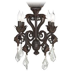 Crystal Beaded Oil-Rubbed Bronze 4-Light LED Light Kit