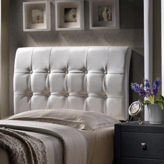 Hillsdale Lusso White Faux Leather Queen Headboard (5D050)