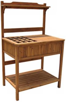 Fall River Natural Outdoor Recessed Storage Potting Bench (5N272)