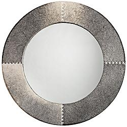 "Jamie Young Cross Stitch Gray Hide 36"" Round Wall Mirror"