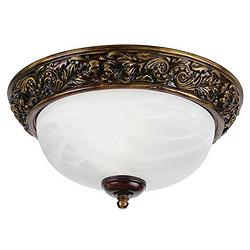 "Florentine 11"" Wide Bronze and Alabaster Glass Ceiling Light"