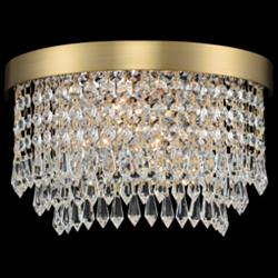 "Allegri Tavo 6"" High Winter Brass Crystal Wall Sconce"