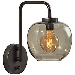Ashton Matte Black and Smoked Glass Plug-In Wall Lamp