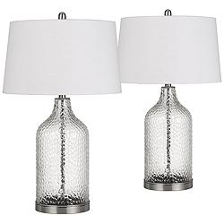 Rimini Clear Glass Raindrop Pattern Jar Table Lamps Set of 2