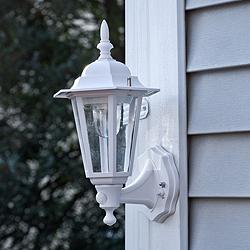 "Set of 2 15"" Battery Motion Sensor White Outdoor Wall Lights"