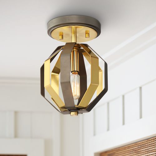 "Octo 7"" Wide Warm Gold and Bronze Ceiling Light"