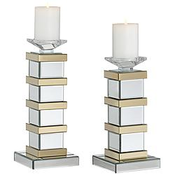 Leon Crystal and Gold Candle Holders - Set of 2