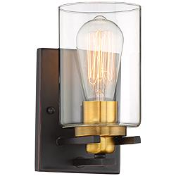 "Possini Euro Demy 8 3/4"" High Bronze and Gold Wall Sconce"