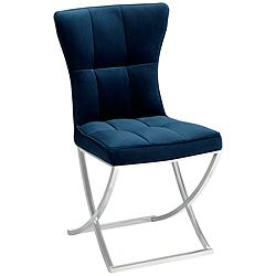 Martino Blue Fabric Modern Dining Chair by 55 Downing Street