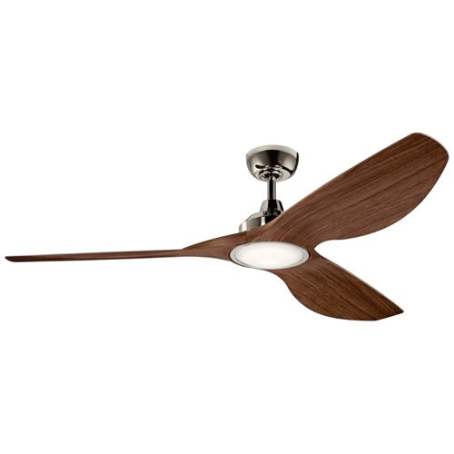"65"" Kichler Imari Walnut and Polished Nickel LED Ceiling Fan"