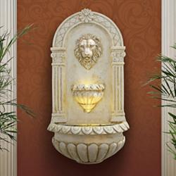 "Lion Head 31"" High Indoor-Outdoor LED Wall Fountain"
