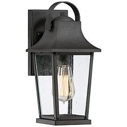 "Quoizel Galveston 12 1/2""H Mottled Black Outdoor Wall Light"