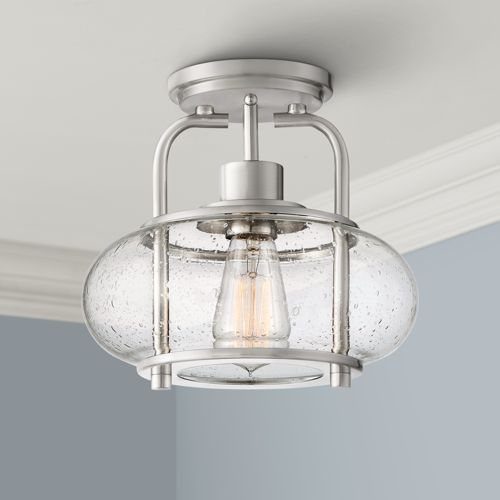 "Quoizel Trilogy 10"" Wide Brushed Nickel Ceiling Light"