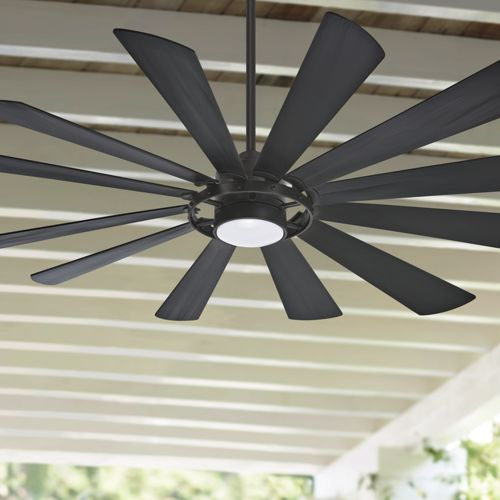 "65"" Minka Aire Windmolen Textured Coal LED Ceiling Fan"