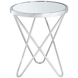 "Marty 17 1/2"" Wide Silver Mirrored Hairpin End Table"