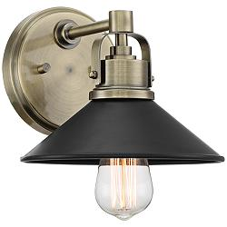 "Possini Euro Clive 6 3/4"" High Brass and Black Wall Sconce"