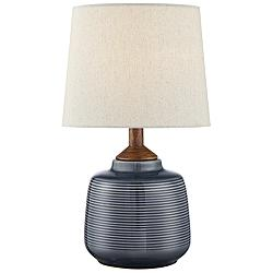 "Lite Source Lismore 17"" High Blue Ceramic Accent Table Lamp"