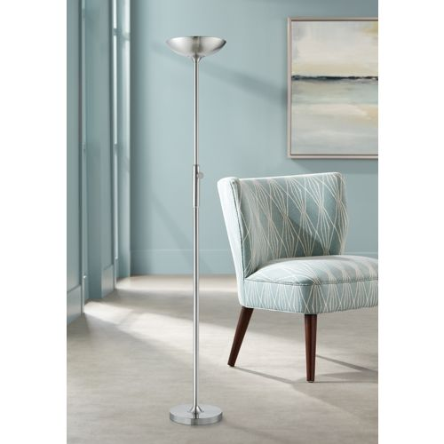 Lemuel II Brushed Nickel Metal LED Torchiere Floor Lamp