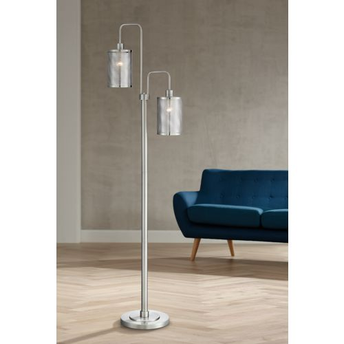 Lite Source Arison Brushed Nickel Metal 2-Light Floor Lamp