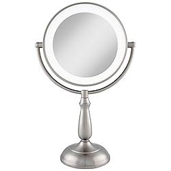 Satin Nickel Lighted LED Touch 10X Magnified Makeup Mirror