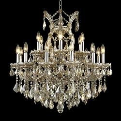 "Maria Theresa 30"" Wide Golden Teak Crystal Chandelier"