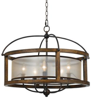 "Mission 26"" Wide Wood 5-Light Pendant Chandelier (6N665)"