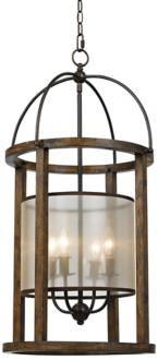 "Mission 16"" Wide Wood Round 4-Light Pendant Chandelier (6N695)"