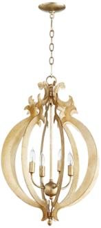 "Danielle 25"" Wide Aged Silver Leaf 4-Light Iron Pendant (6T209)"